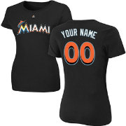Majestic Women's Custom Miami Marlins Black T-Shirt