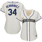 Majestic Women's Replica Seattle Mariners Felix Hernandez #34 Cool Base Home White Jersey