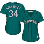 Majestic Women's Replica Seattle Mariners Felix Hernandez #34 Cool Base Alternate Teal Jersey