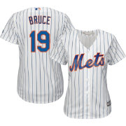 Majestic Women's Replica New York Mets Jay Bruce #19 Cool Base Home White Jersey