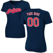 Majestic Women's Custom Cleveland Indians Navy T-Shirt