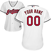 Majestic Women's Custom Cool Base Replica Cleveland Indians Home White Jersey