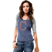 Majestic Women's Cleveland Indians Navy/Grey Raglan Half-Sleeve Shirt