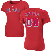Majestic Women's Custom Los Angeles Angels Red T-Shirt