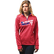 Majestic Women's Philadelphia Phillies On-Field Red Authentic Collection Quarter-Zip Pullover