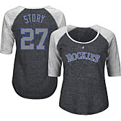 Majestic Women's Colorado Rockies Trevor Story #27 Black/Grey Raglan Three-Quarter Sleeve Shirt