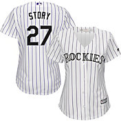 Majestic Women's Replica Colorado Rockies Trevor Story #27 Cool Base Home White Jersey