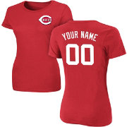 Majestic Women's Custom Cincinnati Reds Red T-Shirt