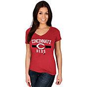 Majestic Women's Cincinnati Reds Red V-Neck T-Shirt