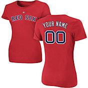Majestic Women's Custom Boston Red Sox Red T-Shirt