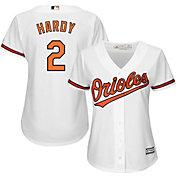 Majestic Women's Replica Baltimore Orioles J.J. Hardy #2 Cool Base Home White Jersey