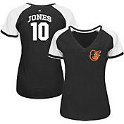 Majestic Women's Baltimore Orioles Adam Jones #10 Black/White Raglan V-Neck T-Shirt