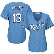 Majestic Women's Replica Kansas City Royals Salvador Perez #13 Cool Base Alternate Light Blue Jersey