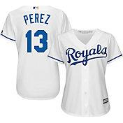 Majestic Women's Replica Kansas City Royals Salvador Perez #13 Cool Base Home White Jersey