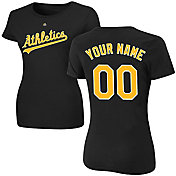 Majestic Women's Custom Oakland Athletics Black T-Shirt