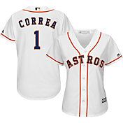 Majestic Women's Replica Houston Astros Carlos Correa #1 Cool Base Home White Jersey