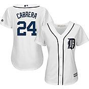 Majestic Women's Replica Detroit Tigers Miguel Cabrera #24 Cool Base Home White Jersey