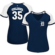 Majestic Women's Detroit Tigers Justin Verlander #35 Navy/White Raglan V-Neck T-Shirt