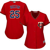 Majestic Women's Replica Minnesota Twins Byron Buxton #25 Cool Base Alternate Red Jersey