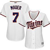 Majestic Women's Replica Minnesota Twins Joe Mauer #7 Cool Base Home White Jersey