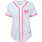 Majestic Youth Girls' Milwaukee Brewers White/Pink Fashion Jersey