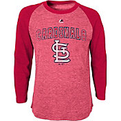 Majestic Youth St Louis Cardinals Red Raglan Long Sleeve Shirt