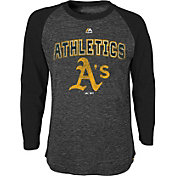 Majestic Youth Oakland Athletics Black Raglan Long Sleeve Shirt