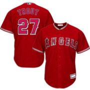 Youth Replica Los Angeles Angels Mike Trout #27 Alternate Red Jersey
