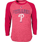 Majestic Youth Philadelphia Phillies Red Raglan Long Sleeve Shirt