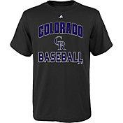 "Majestic Youth Colorado Rockies Black ""Rockies Baseball"" T-Shirt"