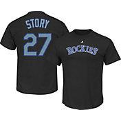 Majestic Youth Colorado Rockies Trevor Story #27 Black T-Shirt
