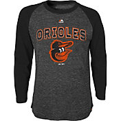 Majestic Youth Baltimore Orioles Black Raglan Long Sleeve Shirt
