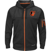 Majestic Youth Baltimore Orioles Therma Base Black Full-Zip Hooded Fleece