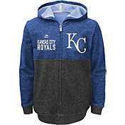 Majestic Youth Kansas City Royals Royal Full-Zip Hooded Fleece