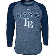 Majestic Youth Tampa Rays Navy Raglan Long Sleeve Shirt