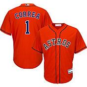 Majestic Youth Replica Houston Astros Carlos Correa #1 Cool Base Alternate Orange Jersey