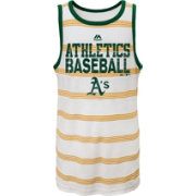 Majestic Youth Oakland Athletics National Pride White Striped Tank