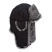 Mad Bomber Men's Black Supplex Faux Fur Bomber Hat
