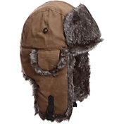 Mad Bomber Men's Khaki Waxed Cotton Faux Fur Bomber Hat