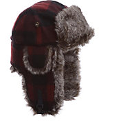 Mad Bomber Men's Maroon Plaid Wool Faux Fur Bomber Hat