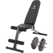 Marcy Deluxe Utility Weight Bench with 40 lb. Adjustable Dumbbells