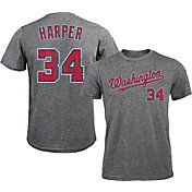 Majestic Threads Men's Washington Nationals Bryce Harper #34 Grey Tri-Blend T-Shirt
