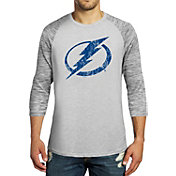 Majestic Threads Men's Tampa Bay Lightning Charcoal Marble 3/4 Sleeve Raglan T-Shirt