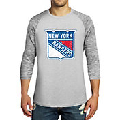 Majestic Threads Men's New York Rangers Charcoal Marble 3/4 Sleeve Raglan T-Shirt