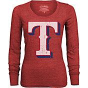 Majestic Threads Women's Texas Rangers Red Long Sleeve Shirt