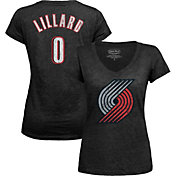 Majestic Threads Women's Portland Trail Blazers Damian Lillard #0 V-Neck T-Shirt