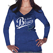 Majestic Threads Women's St. Louis Blues Tri-Blend Long Sleeve Royal T-Shirt