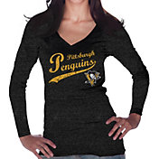 Majestic Threads Women's Pittsburgh Penguins Tri-Blend Long Sleeve Black T-Shirt