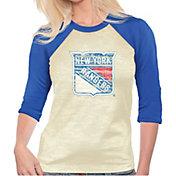 Majestic Threads Women's New York Rangers Three-Quarter Raglan Sleeve T-Shirt