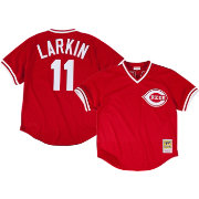 Mitchell & Ness Men's 1990 Cincinnati Reds Barry Larkin #11 Red Throwback Jersey